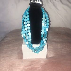 Blue Four Strand Beaded Necklace NWT